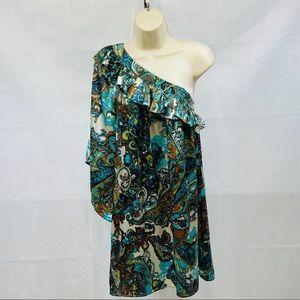 Classique one shoulder paisley boho tunic dress